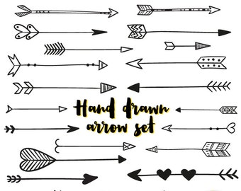 Hand Drawn Arrows Clip Art - Tribal Handdrawn Arrow Hearts Doodle Graphics - Commercial & Personal - Instant Download