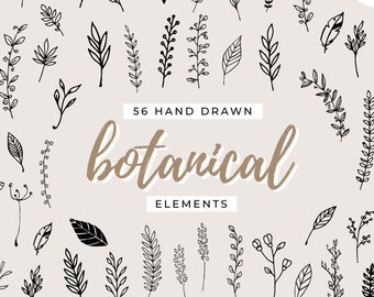 56 Hand Drawn Botanical Elements - Leaves, Leaf Clipart, Leaf Clip Art, Nature, Twigs, Branches, Floral, Tree, Flowers, Instant Download