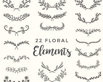 22 Hand Drawn Floral Elements - Leaves, Plants, Nature, Flourish, Branches, Floral Clipart, Wedding, Flowers, Invitation - INSTANT DOWNLOAD!