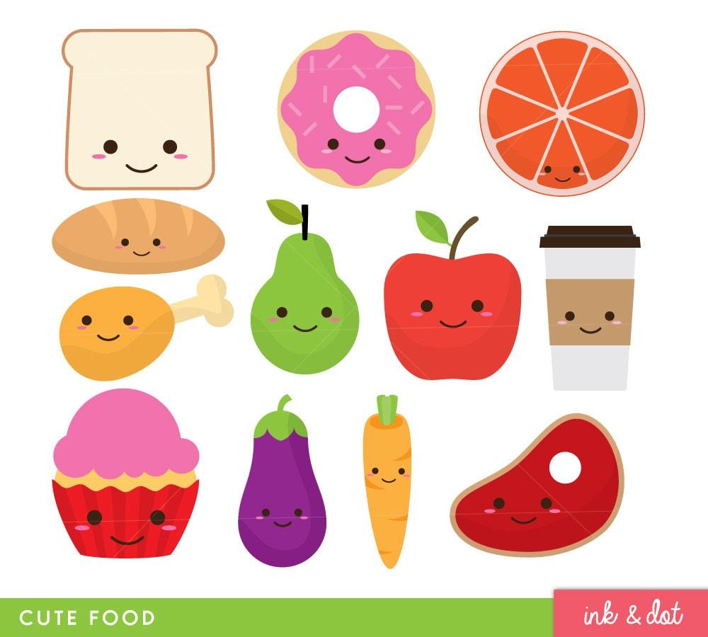 Cute Food Clip Art Fruit Donut Kawaii Faces Food Clipart ...
