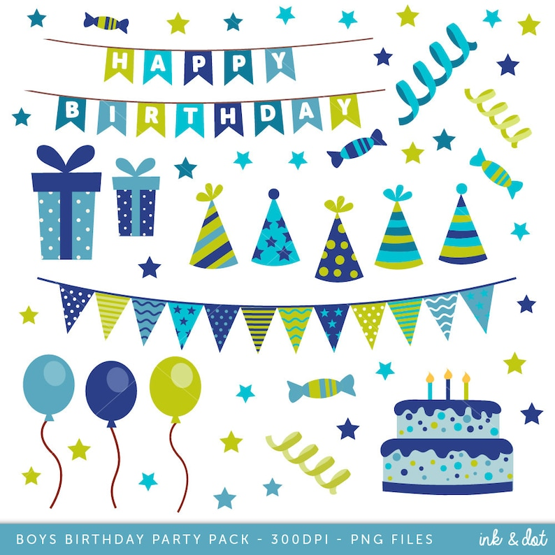 Happy Birthday Clip Art Boys Clipart Cake