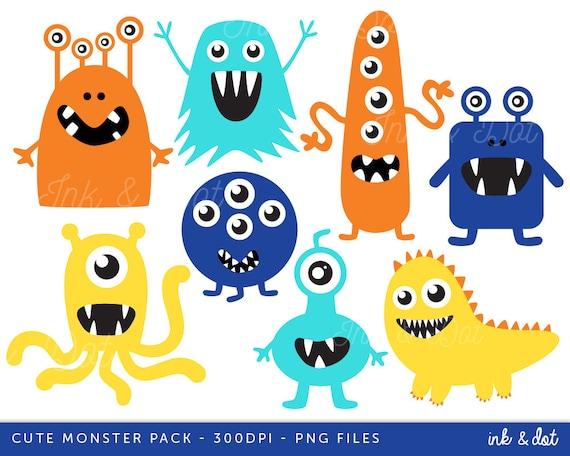 Monsters Clip art Aliens clipart Blue Teal Orange Navy | Etsy