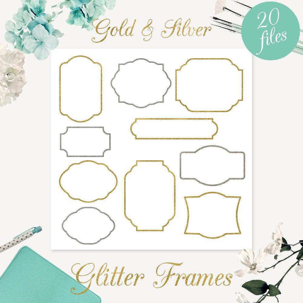 Glitzer Gold und Silber Rahmen ClipArt Scrapbook liefert | Etsy