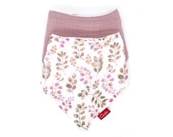 Pink Double Gauze Bib,  Gift for Baby Girl, Muslin Bandana Dribble Bib Bundle, Twin Pack