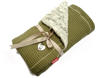 Baby Blanket, Waffle Cotton & Double Gauze, Lightweight Pushchair Throw Cover