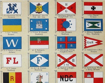 Naval flags etsy 1894 antique lithograph of shipping company flags naval flags 124 years old nice print publicscrutiny Images