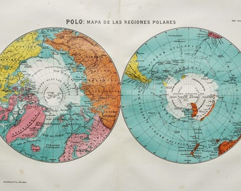 North South Pole Map Etsy