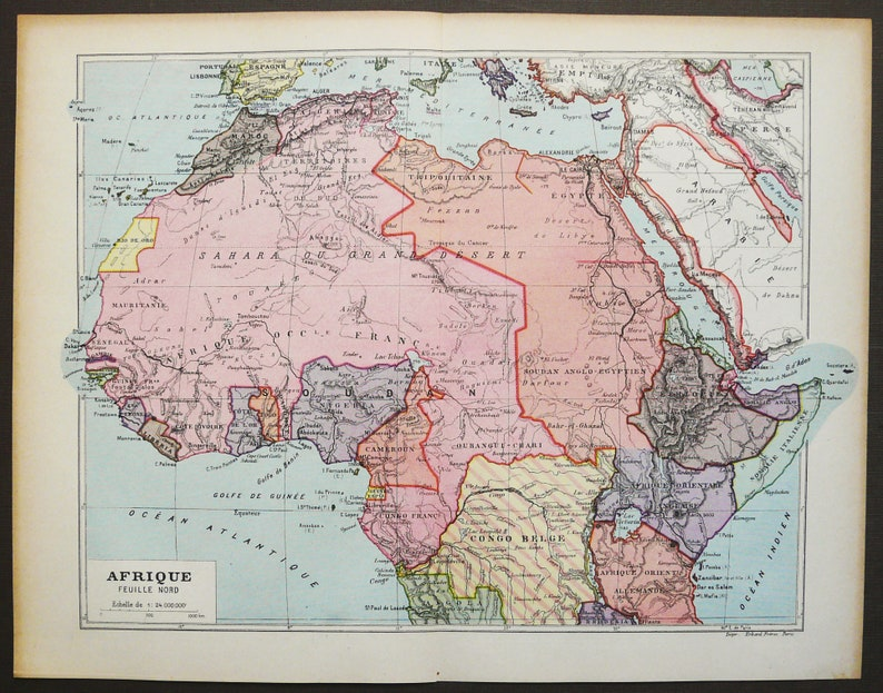 Map Of Africa Sahara.1907 Antique Map Of Africa Northern Africa Sahara Desert Morocco Egypt Senegal 112 Years Old Chart