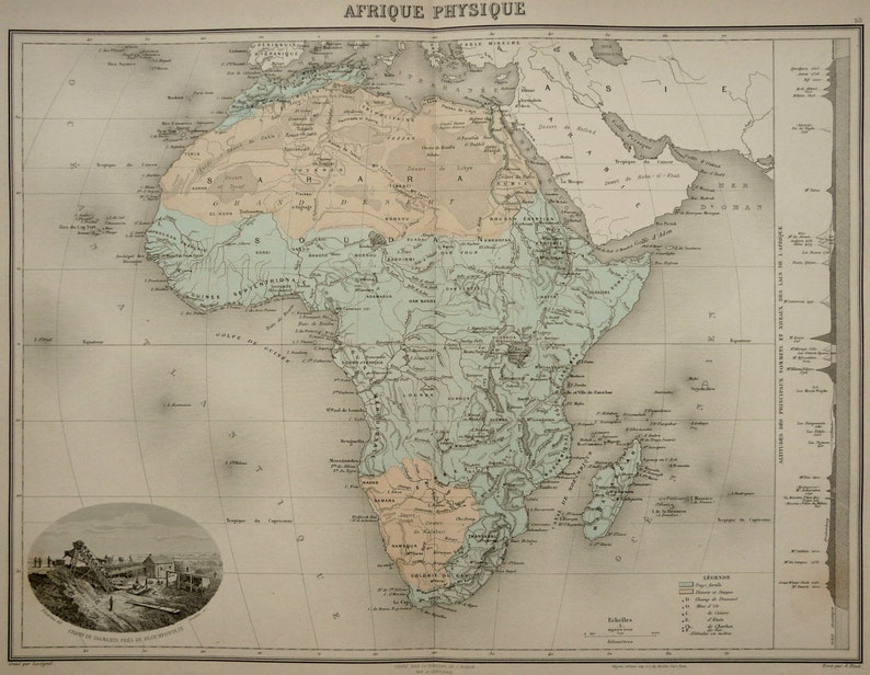 Physical Map Of Africa Rivers.1892 Antique Large Map Of Africa Physical Map Rivers And Etsy