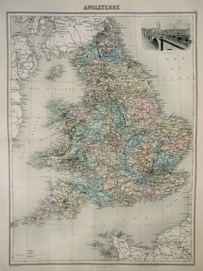 Large Map Of England.1892 Antique Large Map Of England Great Britain London 127 Etsy
