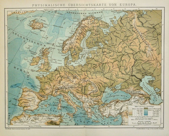 1895 Antique physical map of EUROPE. Rivers and Mountains. 124 years on germany coat of arms, germany economic map, germany water map, germany map with europe, germany world map, germany agriculture, germany city, germany postal map, germany states, korean peninsula on asia map, germany history, germany 1912 map, black forest germany map, germany flag, immigration from germany to america map, germany geography map, germany topographical map, germany cities map, germany map scale, germany castles,