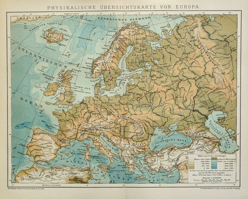 Map Of Germany With Mountains And Rivers.1895 Antique Physical Map Of Europe Rivers And Mountains 124 Etsy
