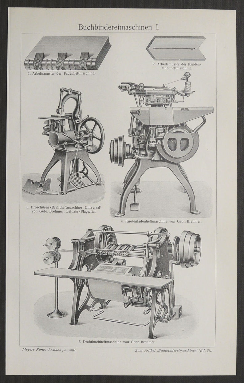 1897 Antique print of PRINTING PRESSES, different types  Book printing  122  years old engraving