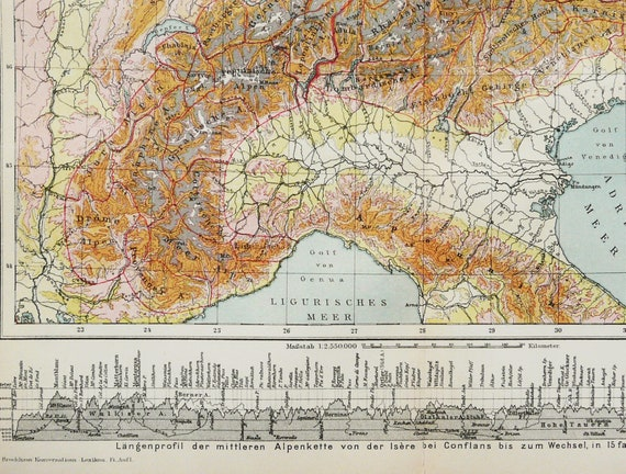 1895 Antique map of THE ALPS with Highest Mountains. French   Etsy