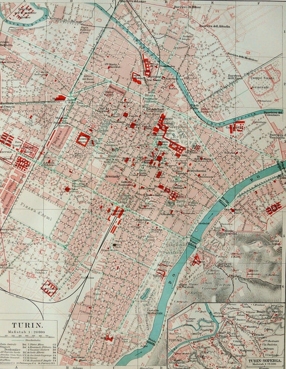 1897 Antique City Map Of Torino Turin Italy 122 Years Old Etsy
