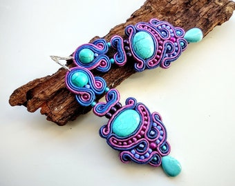 Sale 20/% Blue soutache necklace with tassel and stud mini earrings.