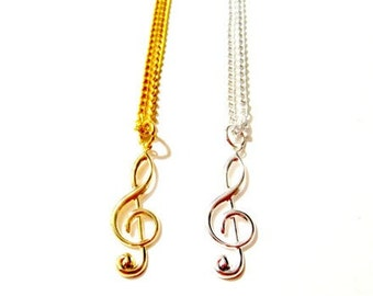 Treble Clef Necklace. Treble Clef. Music Note. Music Necklace. Music Jewelry.