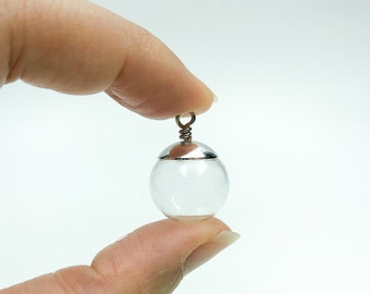 16mm Hollow Blown Glass Pendant, Clear Glass Dome Sphere DIY with 3-5mm Top Hole and Metal Bail - GLS005