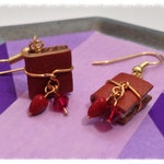 60% off CLEARANCE - Mini Book Earring July Birthstone Ruby Color Swarovski Crystal with Gold Toned Surgical Steel Earwires - GE37