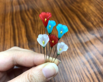 Red, White and Blue Lucite Flower Decorative Sewing or Counting Pins Set of 6, Ex Long Quilting Crafting Embellishment Marking Pins - PN060