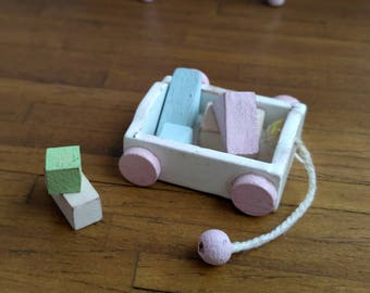 Dolls House Miniature Pull Along Toy with blocks in 1:12 scale