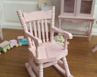 Dollhouse 12th scale Miniature Handpainted Baby Pink Rocking Chair