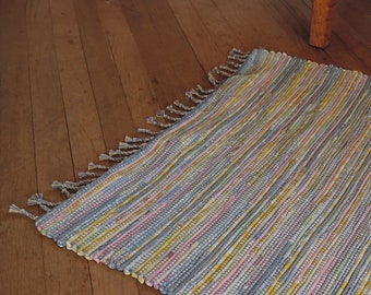 "Hand Woven Rag Rug Small Yellow Blue Cotton 26"" x 26"""