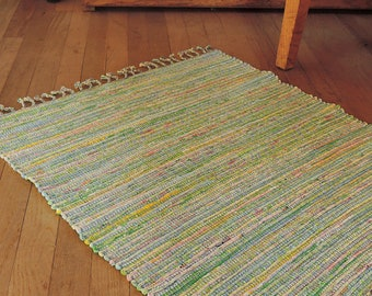 "Hand Woven Rag Rug Pink Green Cotton 27"" x 32"""