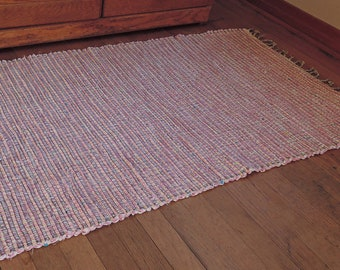 "Hand Woven Rag Rug Pink White Cotton Denim 27"" x 50"""
