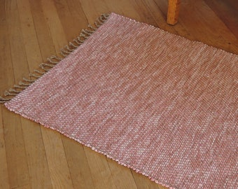"Hand Woven Rag Rug Dusty Rose Twill 26"" x 35"""