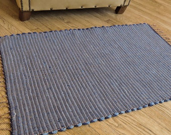"Hand Woven Rag Rug City Denim 29"" x 40"""