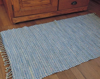 "Hand Woven Rag Rug Light Blue Cotton 26"" x 46"""