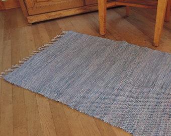 "Hand Woven Rag Rug Blue Cotton 26"" x 40"""