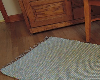 "Hand Woven Rag Rug Aqua Green Cotton 27"" x 56"""
