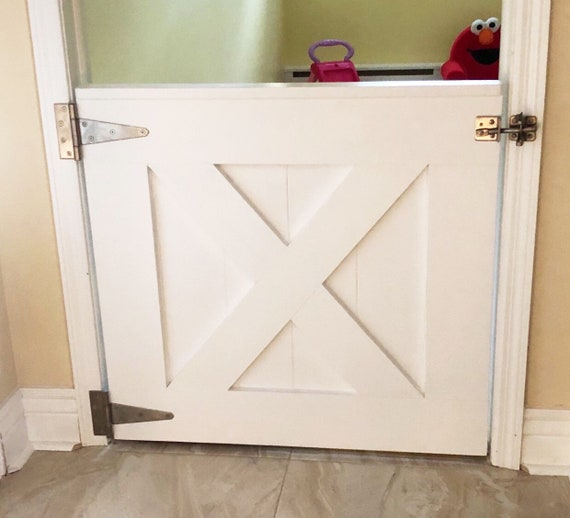 White Barn Door Baby Gate Industrial Hardware Baby And Pet