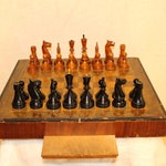 """Antique chess 4.6"""" MASSIVE Handmade vintage chess FULL SET with underside storage Antique chess set Chess table"""