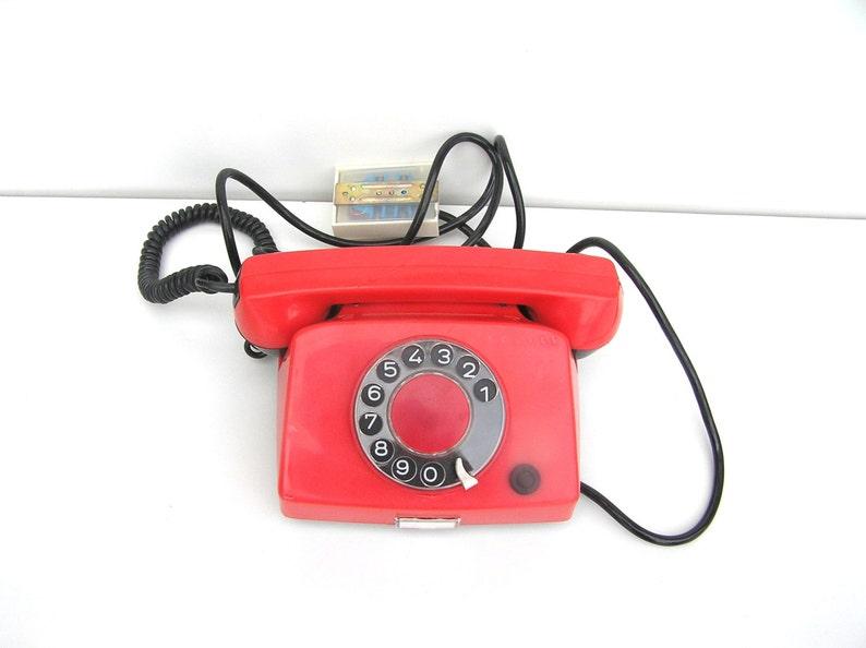 Teléfono rojo teléfono rotativo rojo soviético vintage Rusia teléfono mesa  teléfono Retro rojo decoración retro para el hogar trabajo rotatorio para