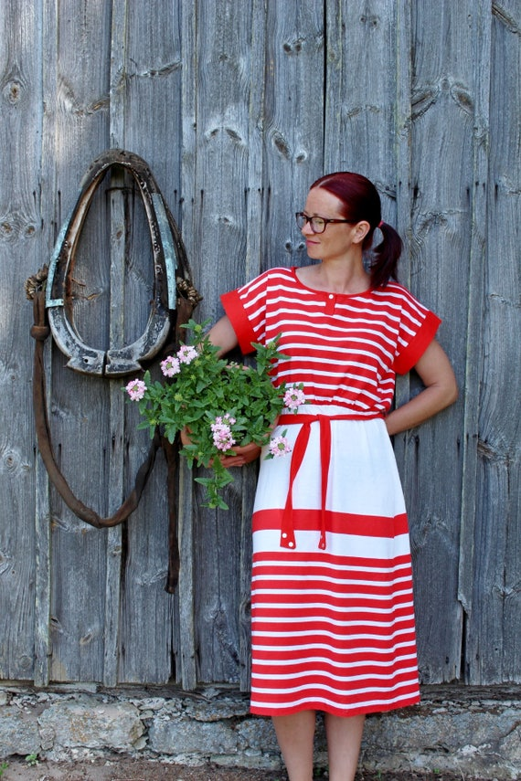 Vintage summer dress UNUSED Red and white striped