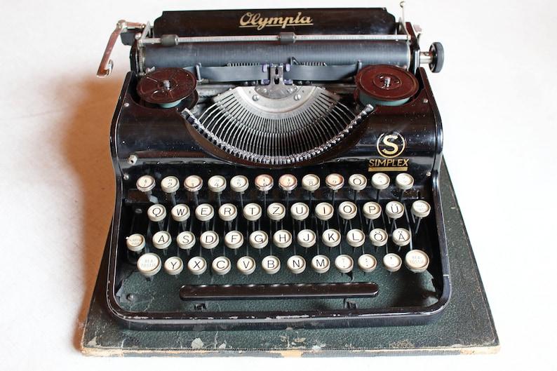 e128e6d3840c5 Olympia typewriter Working typewriter Olympia Simplex 1937 Antique portable  typewriter Black typewriter Vintage working typewriter QWERTZ