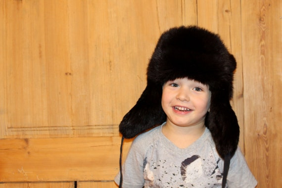 837ce251872 Fur hat SIZE 54 Real fur hat with ear flaps Rabbit fur hat