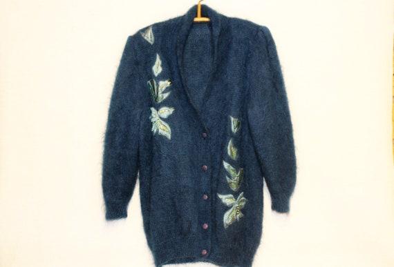 XL Mohair cardigan Mohair wool cardigan Dark blue