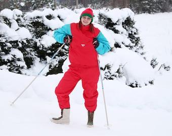 Vintage ski jacket and pants set 90s Skiing suit real red Vintage ski set Californian ski set size S