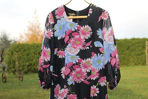 Vintage summer dress M  Floral summer dress Maxi d