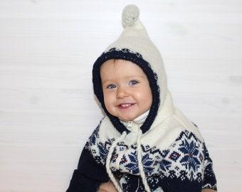 1-2 T Kids PURE WOOL cardigan with hood Baby wool sweater Raindeer Hooded boys winter cardigan Scandinavian pattern Toddlers wool sweater