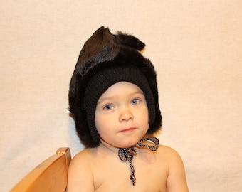 Kids rabbit fur hat 1980s pom pom hat Vintage toddlers real fur hat with pom poms in superb condition Warm winter hat