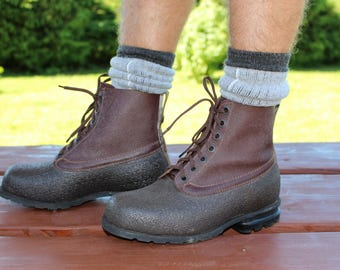 Swedish army boots Mens boots Military boots Genuine leather WW2 Robust combat heavy duty boots Work boots Vintage mens boots