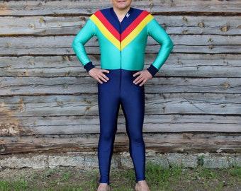 Vintage tracksuit coveralls, Vintage jumpsuit, One piece sports jumpsuit, Finnish Karhu tracksuit, Elastic colorful coveralls
