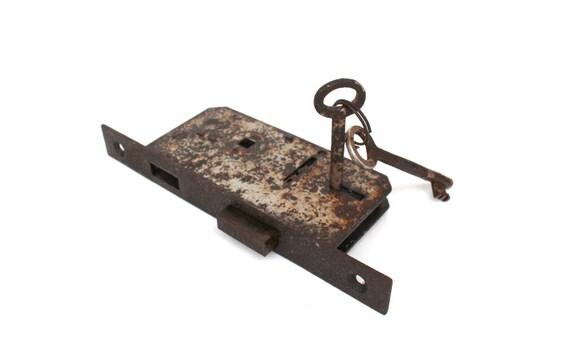 image 0 - Antique Door Lock Mechanism With Two Skeleton Keys FULLY Etsy