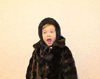 Kids fur hat Soviet vintage NOS Faux fur hat 50-54 Black fur hat with pom poms