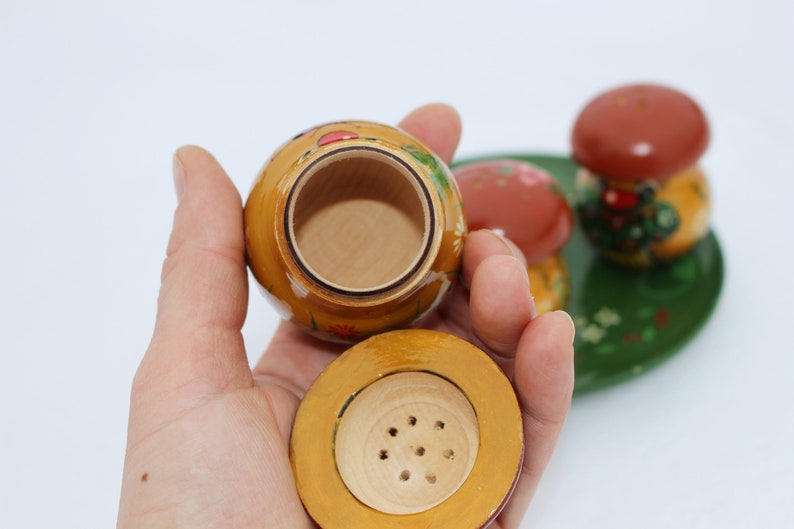 Mushroom salt and pepper shakers set Boletus Mushroom figurine Handpainted salt pepper shakers Wooden kitchen decor Colorful wood containers